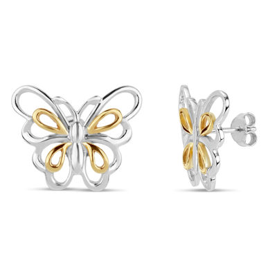 18K Gold Over Silver Stud Earrings