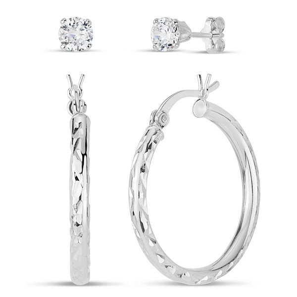 Diamonart 2 Pair 3/8 CT. T.W. White Cubic Zirconia Sterling Silver Earring Sets