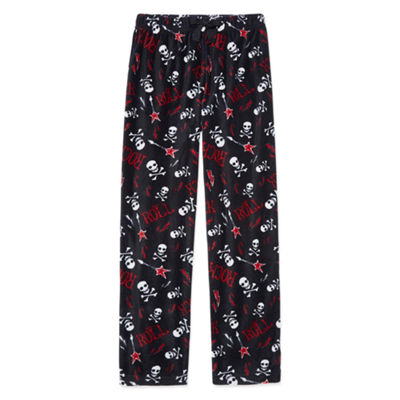 Arizona Microfleece Skull Print Pajama Pants-Boys 4-20 & Husky
