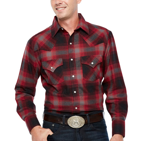 Ely Cattleman Long Sleeve Flannel Western Shirt - Big and Tall