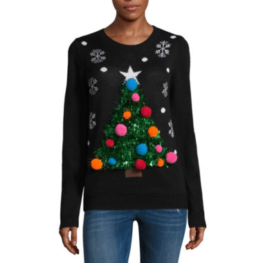Ugly Christmas Tree Sweater-Juniors