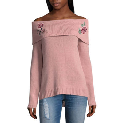 Arizona Embroidered Off Shoulder Sweater - Juniors