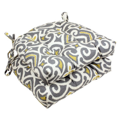 Pillow Perfect New Damask Reversible Chair Pad (Set of 2)