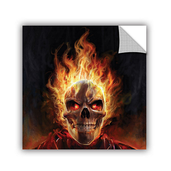 Brushtone Flaming Skull Removable Wall Decal