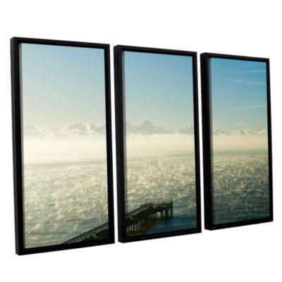 Brushtone Fog On The Ocean 3-pc. Floater Framed Canvas Wall Art