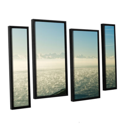 Brushtone Fog On The Ocean 4-pc. Floater Framed Staggered Canvas Wall Art