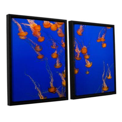 Brushtone Flowing Pacific Sea Nettles 2 2-pc. Floater Framed Canvas Wall Art