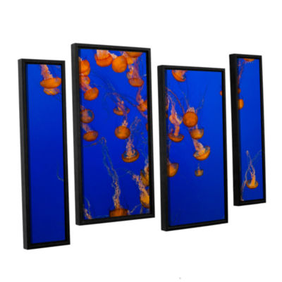 Brushtone Flowing Pacific Sea Nettles 2 4-pc. Floater Framed Staggered Canvas Wall Art