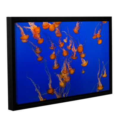 Brushtone Flowing Pacific Sea Nettles 2 Gallery Wrapped Floater-Framed Canvas Wall Art