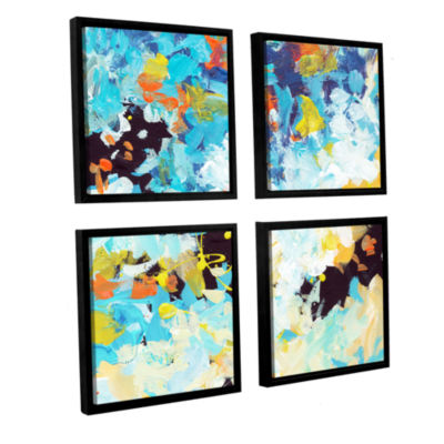Brushtone Floral Garden 2 4-pc. Square Floater Framed Canvas Wall Art