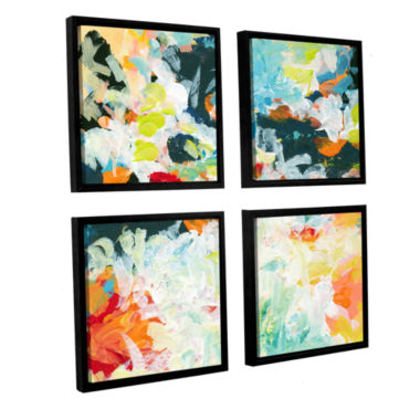 Brushtone Floral Garden 3 4-pc. Square Floater Framed Canvas Wall Art