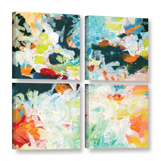 Brushtone Floral Garden 3 4-pc. Square Gallery Wrapped Canvas Wall Art