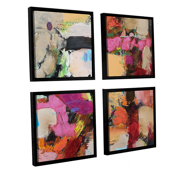 Brushtone Follies 4-pc. Square Floater Framed Canvas Wall Art