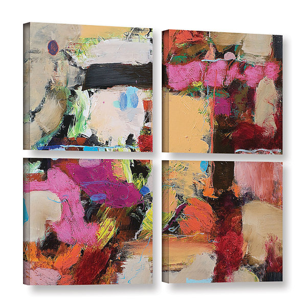 Brushtone Follies 4-pc. Square Gallery Wrapped Canvas Wall Art