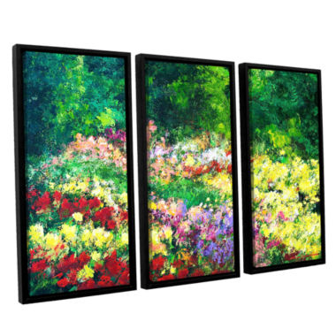Brushtone Forest Garden 3-pc. Floater Framed Canvas Wall Art