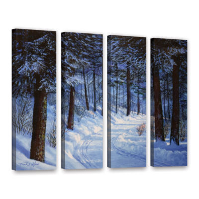 Brushtone Forest Road 4-pc. Gallery Wrapped CanvasWall Art