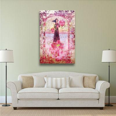 Brushtone Flower Happy Gallery Wrapped Canvas WallArt
