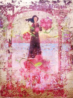 Brushtone Flower Happy Gallery Wrapped Floater-Framed Canvas Wall Art