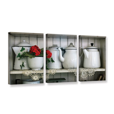 Brushtone Flower With Pots 3-pc. Gallery Wrapped Canvas Wall Art