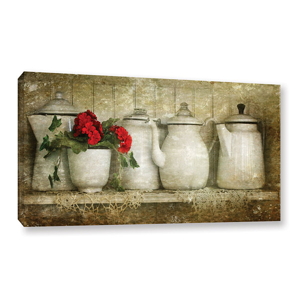 Brushtone Flower With Pots Gallery Wrapped CanvasWall Art