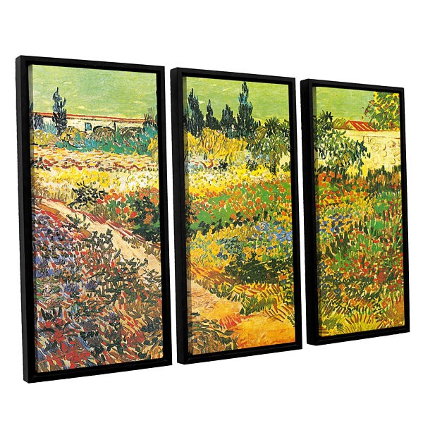 Brushtone Flowering Garden 3-pc. Floater Framed Canvas Wall Art