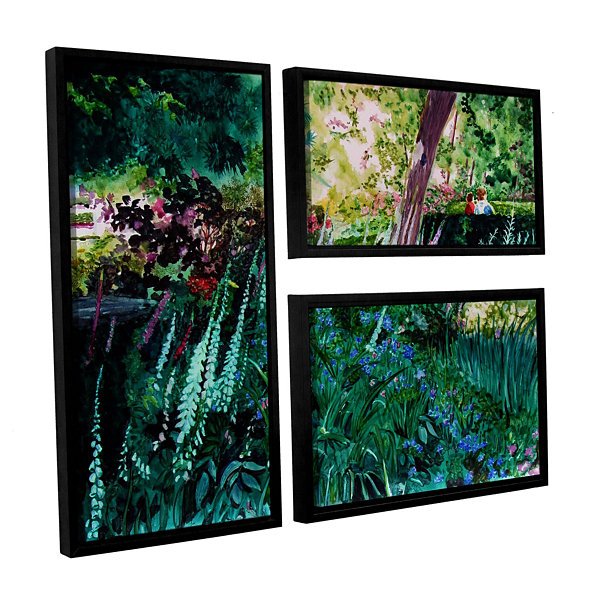 Brushtone Foxgloves At Mill Creek 3-pc. Flag Floater Framed Canvas Wall Art
