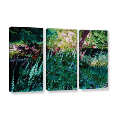 Brushtone Foxgloves At Mill Creek 3-pc. Gallery Wrapped Canvas Wall Art