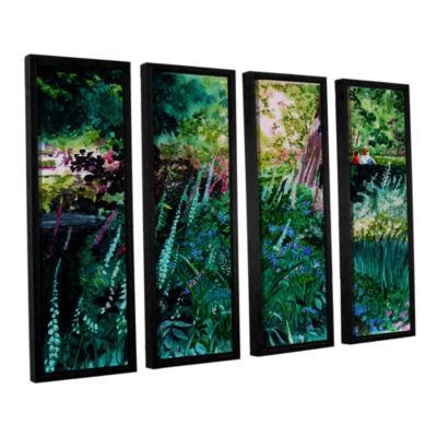 Brushtone Foxgloves At Mill Creek 4-pc. Floater Framed Canvas Wall Art