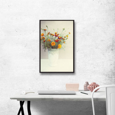 Brushtone Flowers Classical Vase Gallery Wrapped Floater-Framed Canvas Wall Art