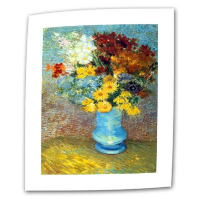 Brushtone Flowers In Blue Vase Canvas Wall Art