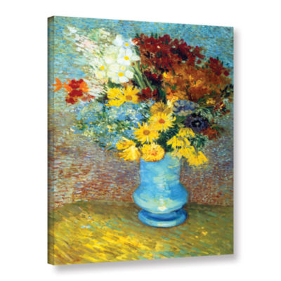 Brushtone Flowers In Blue Vase Gallery Wrapped Canvas Wall Art