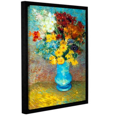 Brushtone Flowers In Blue Vase Gallery Wrapped Floater-Framed Canvas Wall Art