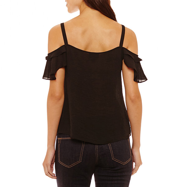 Bold Elements Short Sleeve Lace Up Cold Shoulder Top