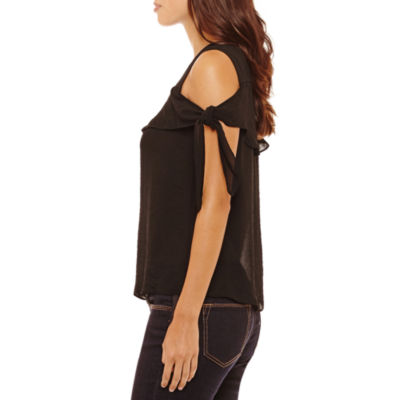 Bold Elements Short Sleeve Ruffle Front Cold Shoulder Top