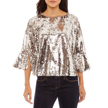 Bold Elements Sequin Bell Sleeve Top