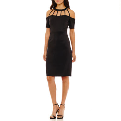 Bold Elements Cage Neck Cold Shoulder Bodycon Dress