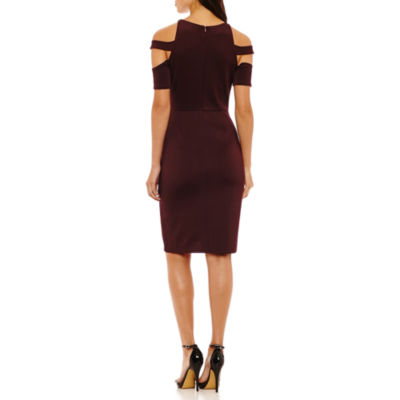 Bold Elements Halter Elbow Sleeve Bodycon Dress
