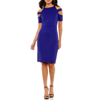 Bold Elements Halter Elbow Sleeve Bodycon Dress