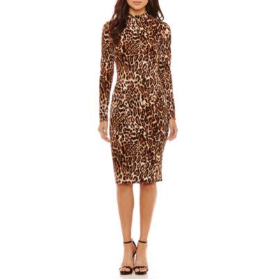 Bold Elements Leopard Print Mock Neck Bodycon Dress