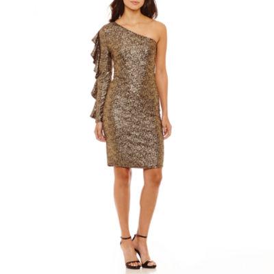 Bold Elements One Shoulder Ruffle Dress