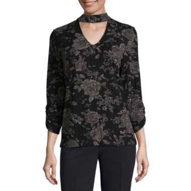 Alyx Long Sleeve V Neck Knit Floral Blouse