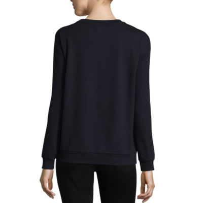 Liz Claiborne Long Sleeve Embroidered Sweatshirt