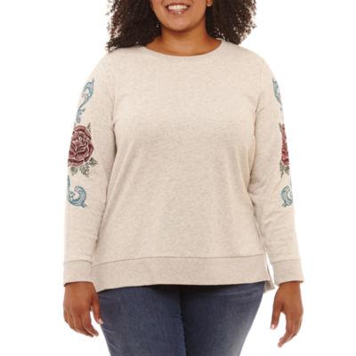 St. John's Bay Embroidered Long Sleeve Step Hem Sweatshirt-Plus