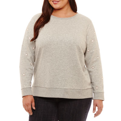 St. John's Bay Long Sleeve Pearl Step Hem Sweatshirt-Plus