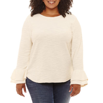St. John's Bay Long Bell Sleeve French Terry Top-Plus