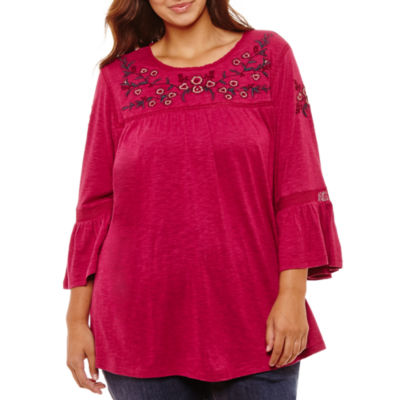 3/4 Bell Sleeve High Neck Embroidered Blouse - Plus