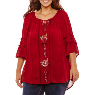 3/4 Bell Sleeve Off the Shoulder Embroidered Blouse - Plus
