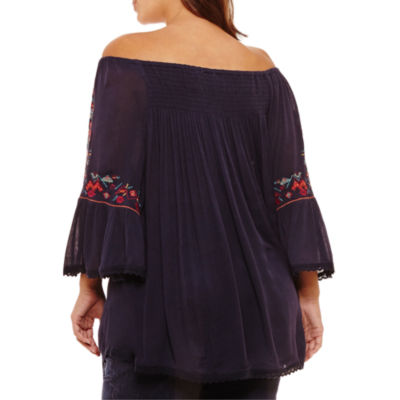 3/4 Embroidered Sleeve Off the Shoulder Blouse-Plus