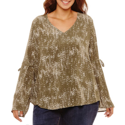 a.n.a Long Bell Sleeve Blouse-Plus