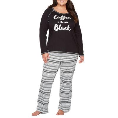 Sleep Chic Knit Long Sleeve Pant Pajama Set-Plus